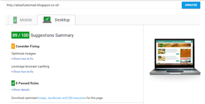 PageSpeed Tools Kecepatan untuk Desktop