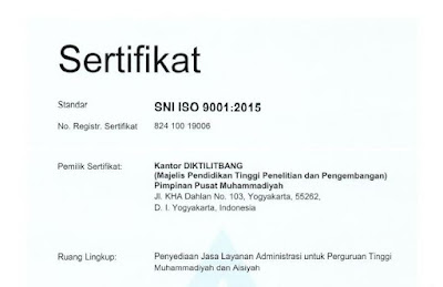 Majelis Diktilitbang PP Muhammadiyah Berhasil Raih ISO 9001:2015