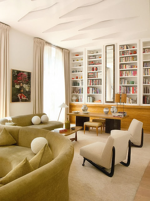 library with curved sofa
