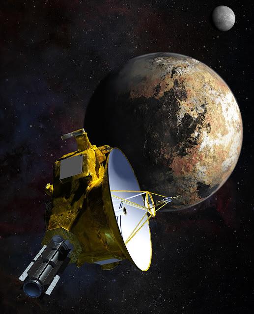 Ilustração artística da sonda New Horizons durante seu encontro com Plutão e sua lua Caronte