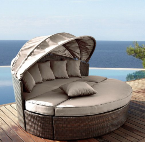 Venus Round Garden Sofa Daybed Circular Design With Folding Canopy
