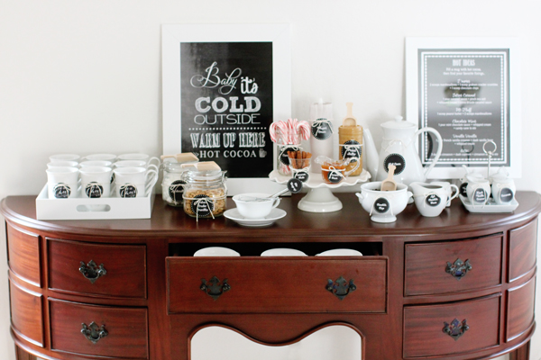 Use a buffet table for a holiday hot cocoa bar
