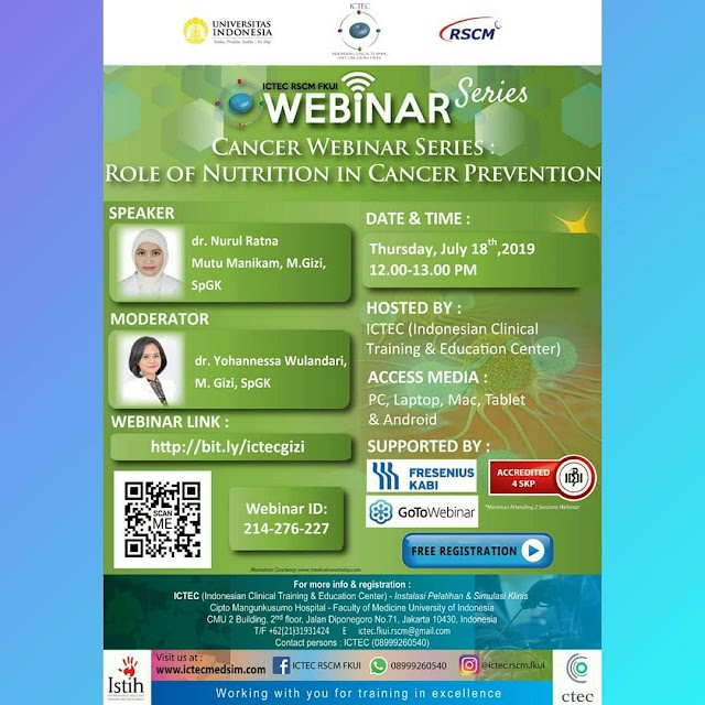 "Free SKP IDI: "" Sesi 4 : Popular Diet in Cancer"" Senin, 29 Juli 2019 (12.00-13.00 WIB)"