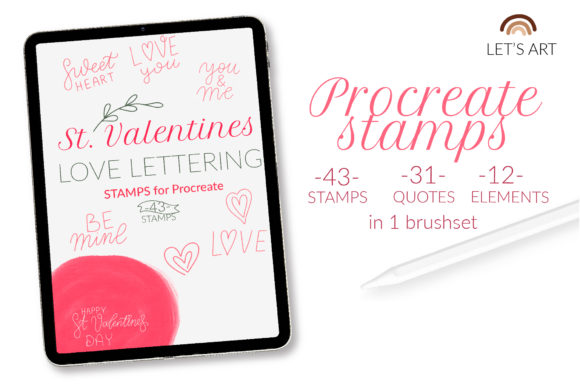 Valentine's Day Procreate Stamps. Love[Photoshop][6142807]
