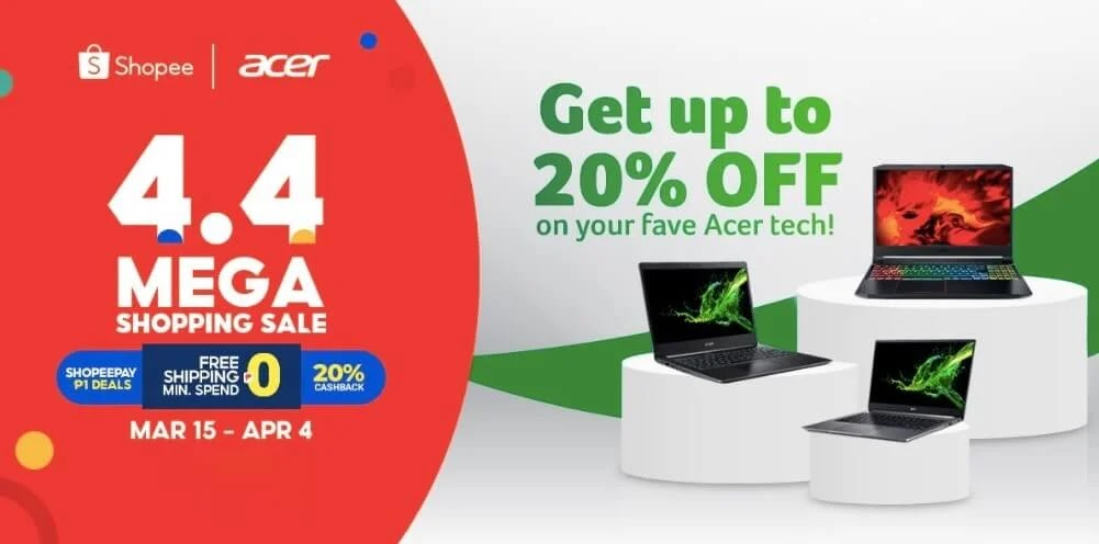 Save 20% on these Acer Products at Shopee's 4.4 Mega Shopping Sale