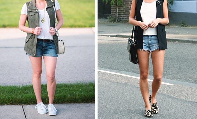 White T-shirt + Vest + Shorts