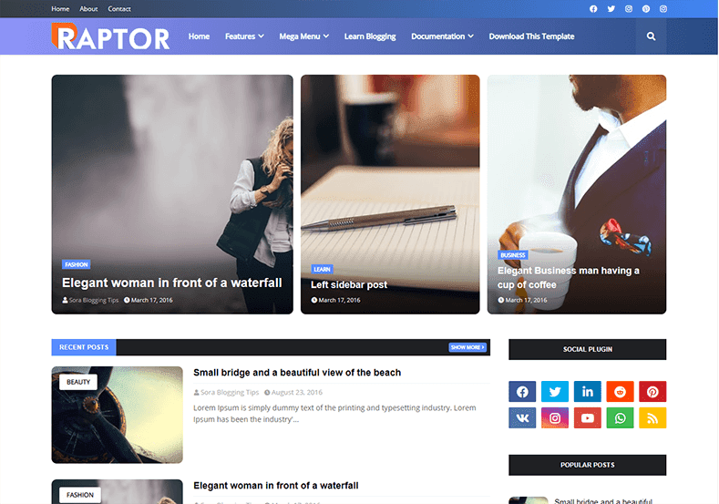 Raptor Blogger Template