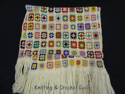 1950s vintage crochet; stole in small granny squares with fringe; Knitting & Crochet Guild