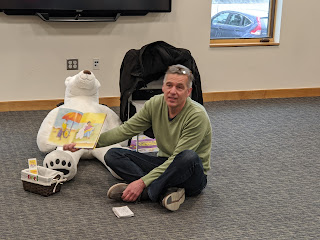 Jeff and Klondike at the Franklin Public Library