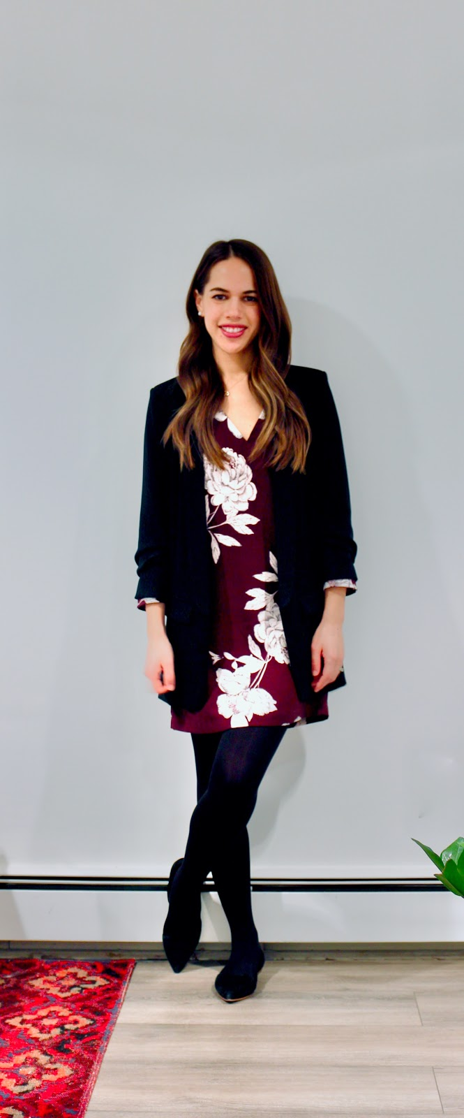 Jules in Flats - Oversize Floral Shift Dress + Zara Blazer (Business Casual Winter Workwear on a Budget)
