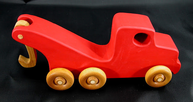 Handmade Wooden Toy Tow Truck From The Quick N Easy 5 Truck Fleet - Red Version - Right Side Top View