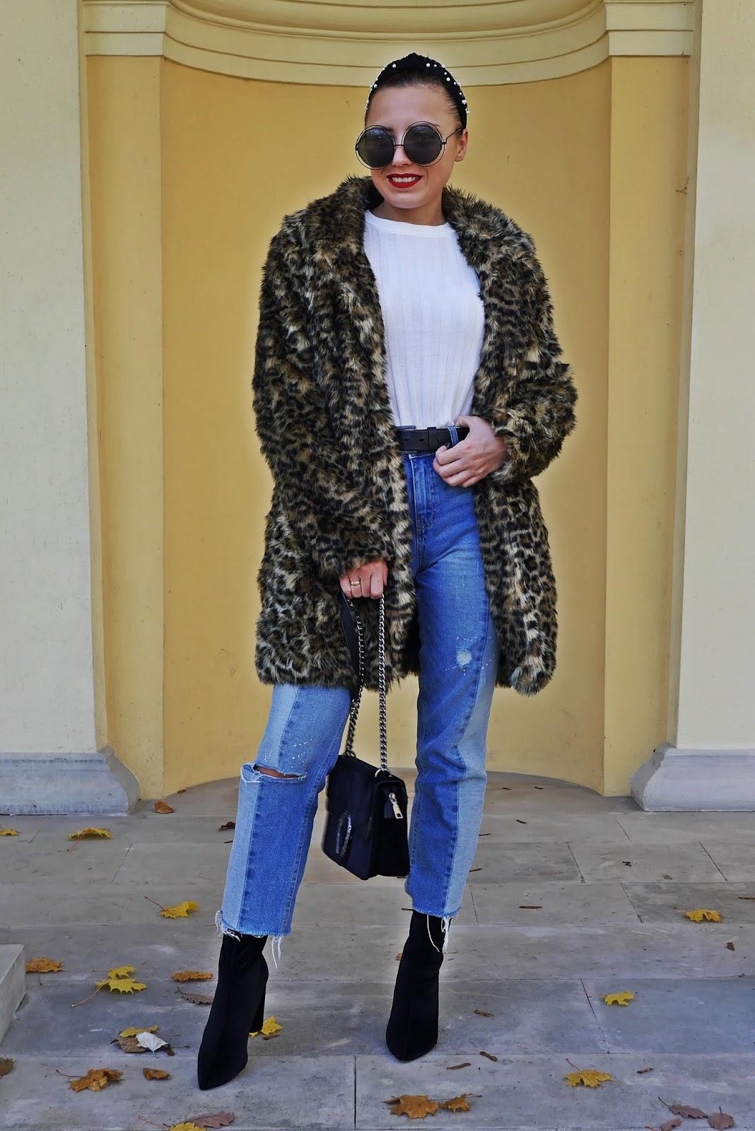 leopard print fur new look denim pants socks shoes velvet bag sunglasses hair bande aliexpress karyn fashion blogger