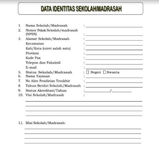 - Contoh Data Identitas Sekolah/ Madrasah untuk Akreditasi