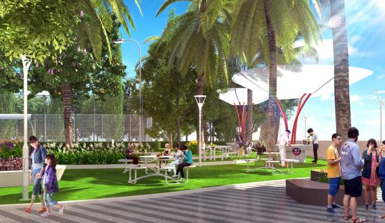 Không gian sinh hoạt cộng đồng với thiên nhiên cây xanh của Roman Plaza