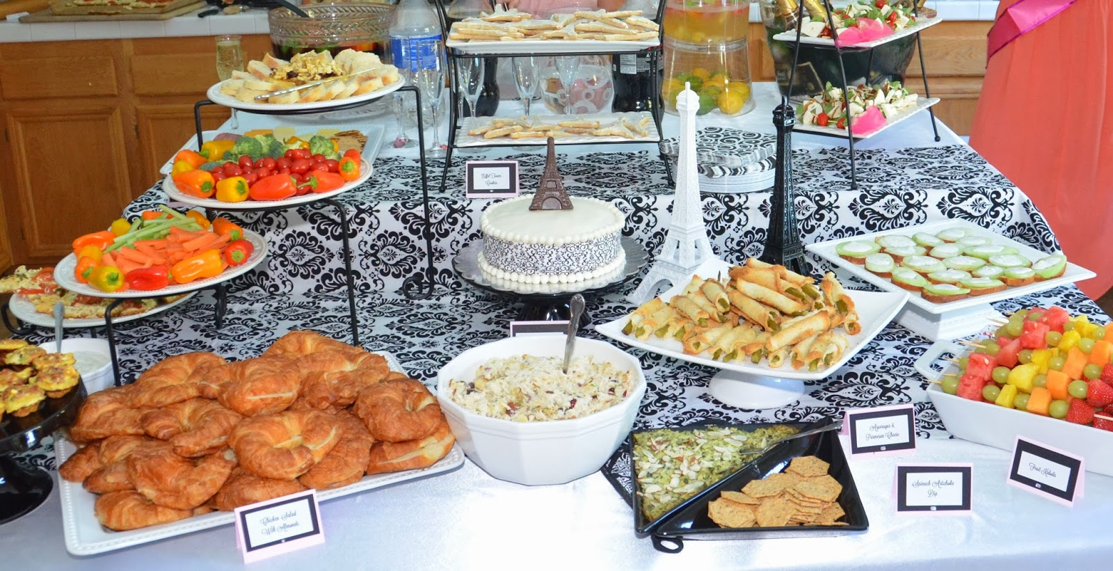 Eiffel Tower Theme Bridal Shower Food Table