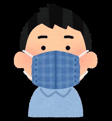 手作りマスクをつけた人のイラスト(男性)