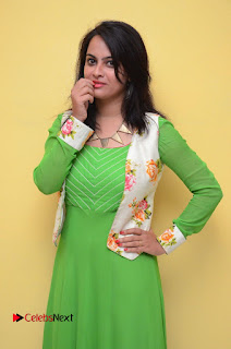 Actress Athidhi D Pictures in Green Dress at Attarillu Movie Press Meet  0040