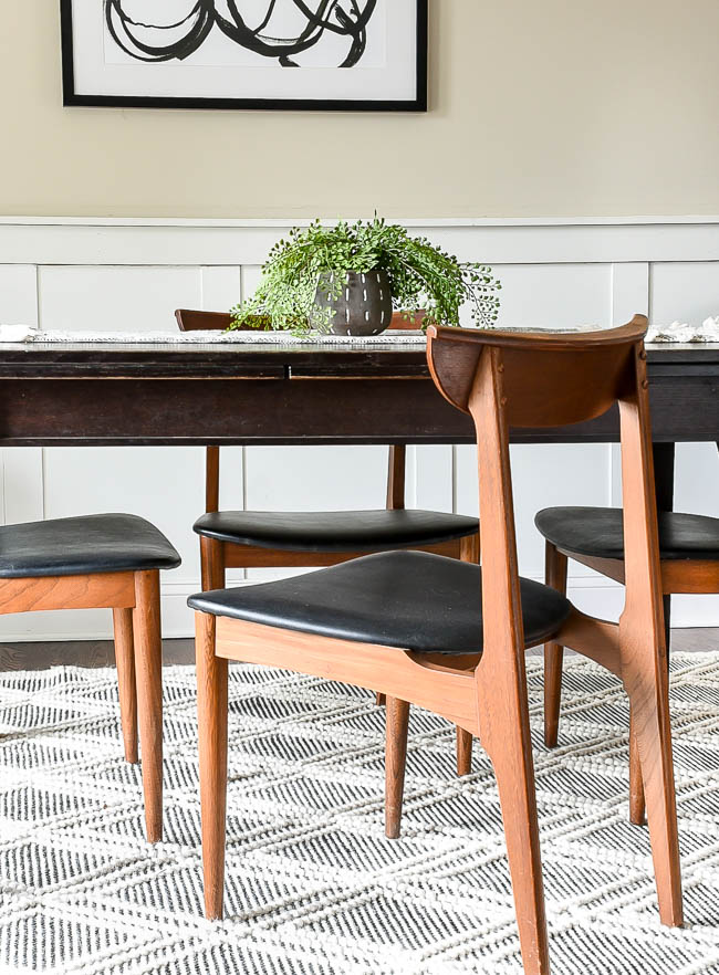 Solid walnut mid-century modern dining room chairs