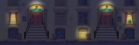 fondo videojuego fachada edifio de noche