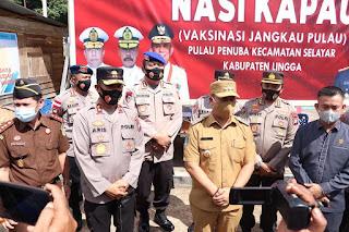 """Kapolda Kepri tinjau langsung Pelaksanaan Program """"""""NASI KAPAU"""" di wilayah Kabupaten Lingga"""