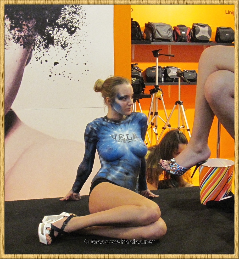 Painted Girl Posing on Moscow Photo Exhibition 2011