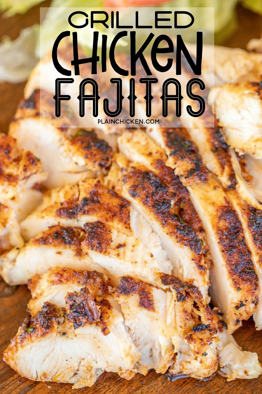 grilled chicken fajitas on a serving board