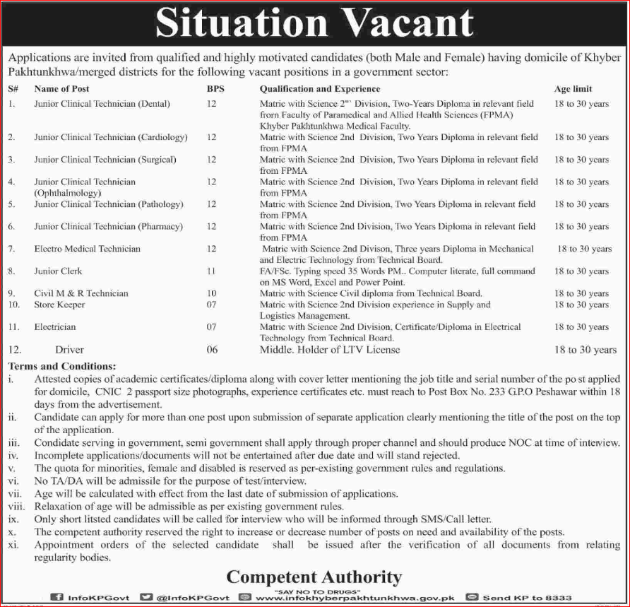 Advertisement for Government Sector KPK Jobs.