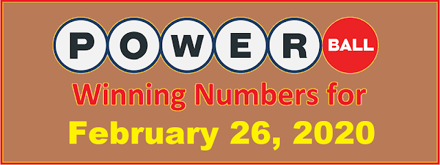 PowerBall Winning Numbers for Wednesday, February 26, 2020