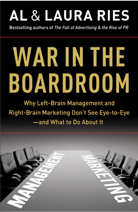 WAR INBOARD THEROOM Why Left-Brain Management and Right-Brain Marketing Don't See Eye-to-Eye— and What to Do About It AL & LAURA RIES cover page