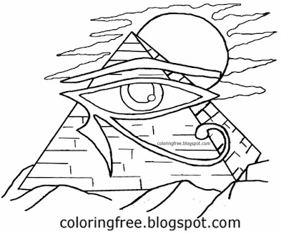 Printable Egyptian pyramid of Giza drawing Egypt symbol eye of Horus coloring in pages for teenagers