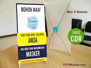 Free Desain Mini Banner Wajib Pakai Masker
