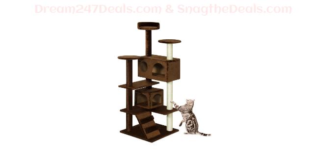 53in Multi-Level Kitten Cat Tree w/ Scratcher