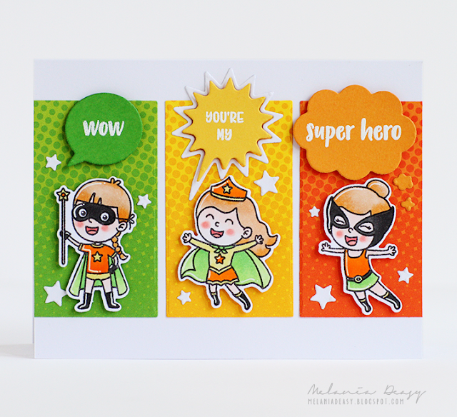 Sunny Studio Stamps: Super Duper Comic Strip Speech Bubble Dies Super Hero Themed Cards by Melania Deasy