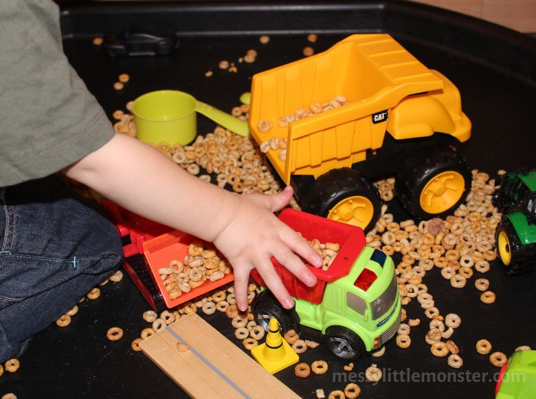 Activities for toddlers - construction sensory bin