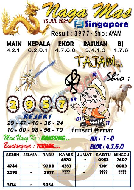 Syair Naga Mas SGP Kamis 15 Juli 2021