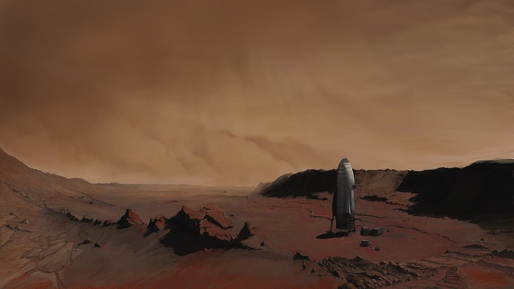 Painting of SpaceX ITS spaceship on Mars by Nick Oberg