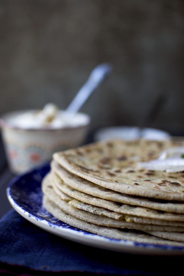 Paratha stuffed with Potato and Fenugreek leaves
