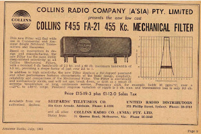 The Collins Mechanical Filter -- An Advertisement from Australia, 1963