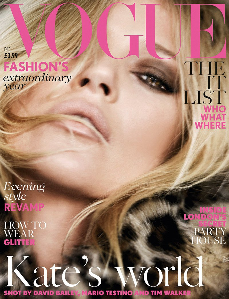 Kate Moss is the cover star of Vogue UK December 2014 issue