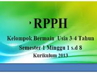 RPPH Kelompok Bermain  Usia 3-4 Tahun Semester 1 Minggu 1 s.d 8