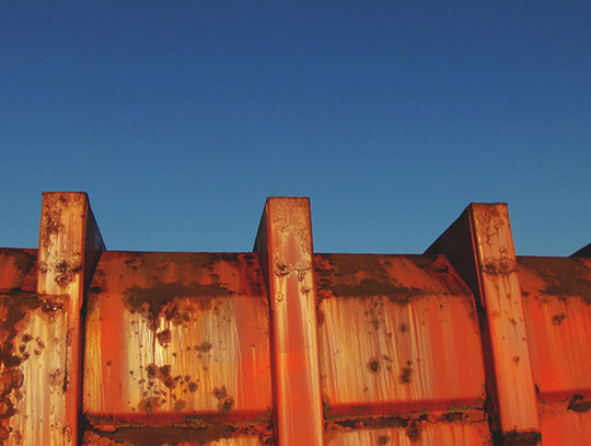 urban photography, urban decay, art, contemporary, urban photo, red skip, rust, blue sky, Sam Freek, abstract,