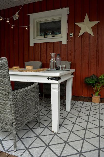 terassi kuisti polyrottinkituoli sisustus valkoinen pöytä sisustus sisustaminen jotex matto