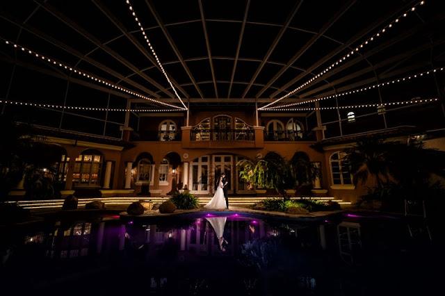 backyard terrace wedding reception