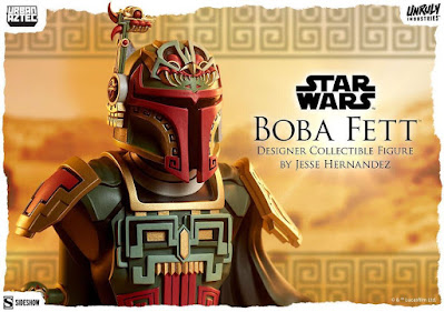 Boba Fett Urban Aztec Star Wars Vinyl Bust by Jesse Hernandez x Unruly Industries