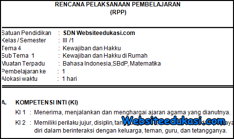 RPP Kelas 3 Tema 4 Kurikulum 2013 Revisi 2019