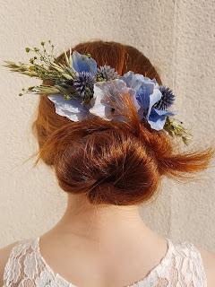 Patouche Chapeaux Fleurs de soie hortensia bleu ciel et chardon