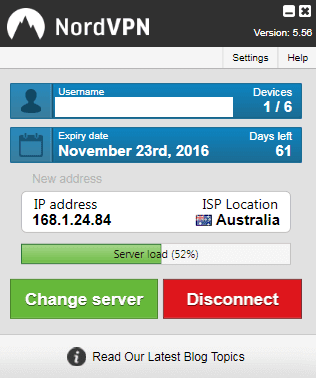 Connected Nord VPN