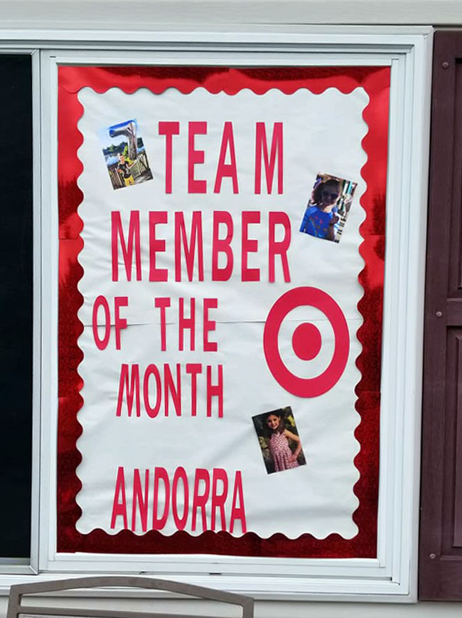 Target birthday-party decor team member of the month sign