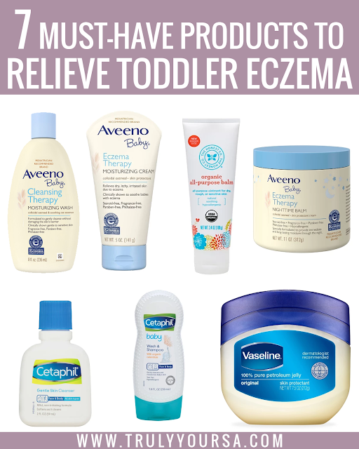Battling McKenna's eczema has been tough this past year. I can't even begin to tell you about the many different products I've tried and their costs, but seeing her comfortable and not itchy is priceless. This summer we had quite a few flare ups, but I'm so glad to report that I finally found what works for her skin. Keep reading for the 7 products that finally relieved her eczema-prone skin! #toddlereczema #babyeczema #eczemarelief #toddlereczemarelief