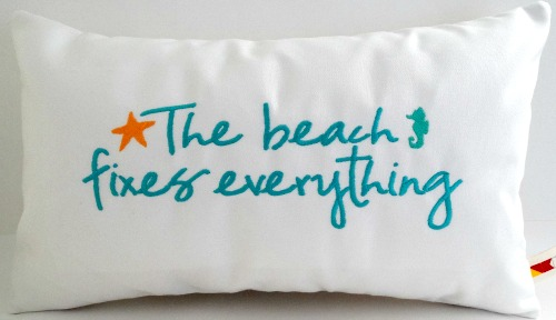 Embroidered Beach Quote Pillow Covers